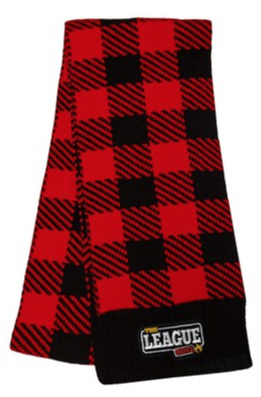 knit scarf with embroidered logo for truckee tahoe winters