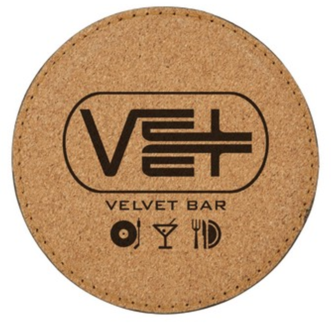 personalized cork and velvet coaster from reno tahoe promotions