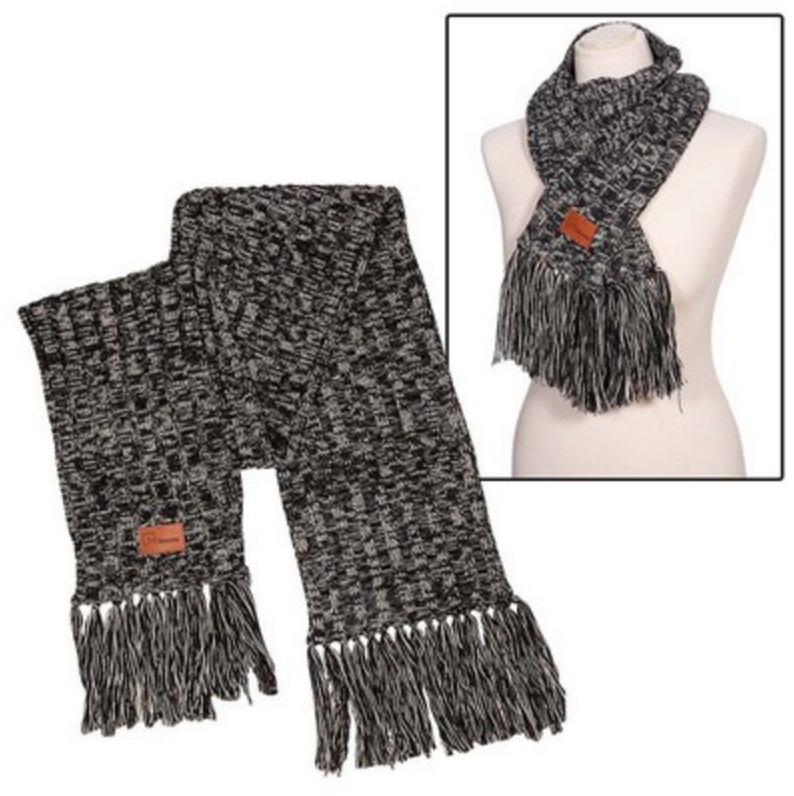 heathered knit scarf with patch as reno tahoe promotions employee gift