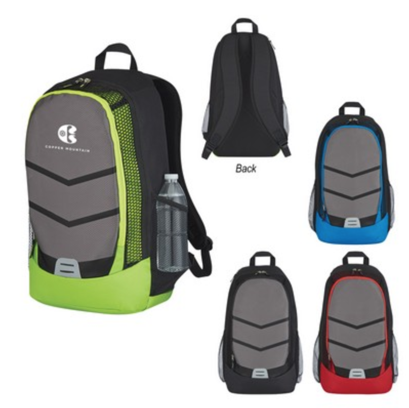 branded backpack from reno tahoe promotions