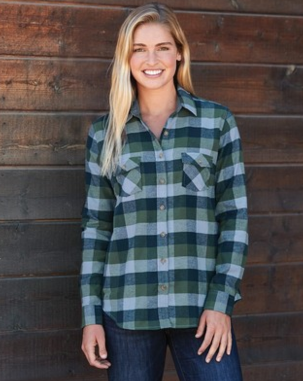womens plaid embroidered button up shirt from reno tahoe promotions