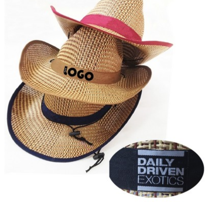 cowboy straw hat from reno tahoe promotions with woven ribbon