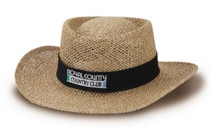 reno tahoe promotions straw hat with embroidered logo ribbon