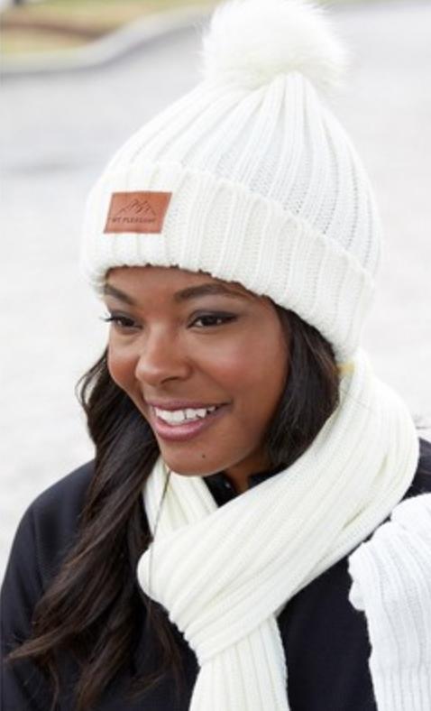 truckee tahoe winter ready uniform knit beanie with fur pom pom