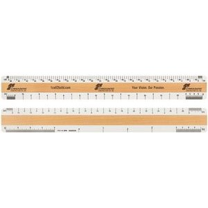 "4 Bevel Architectural Ruler w/ Clear Vinyl Case (12"")"