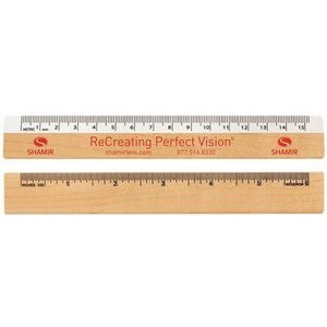 "Optical Ruler - White Metric Scale Front / Wood Inch Back (6"")"