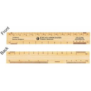 "6"" Architectural Wooden 4 Bevel Ruler"