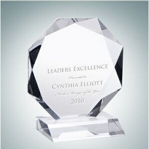 Prestige Octagon Optical Crystal Award Plaque (Large)